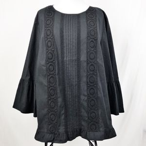 J. Jill Embroidered Blouse Flare Sleeve Black